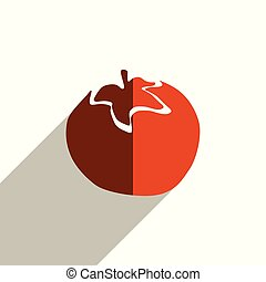 Fruit flat icons with of shadow. Vector illustration
