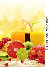 fruit frais, et, trois lunettes, entiers, de, jus