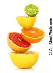 fruit, frais, fond, rang, citrus, blanc