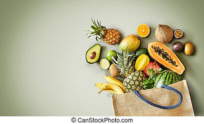 fruit frais, juteux, exotique, panorama