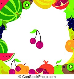 Fruit frame on a white background