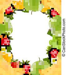 fruit., fris, sappig, vector., gemaakt, frame