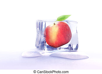 Fruit frozen in ice cube - Fresh whole peach fruit frozen...