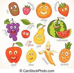 fruit., gekke , spotprent, karakter