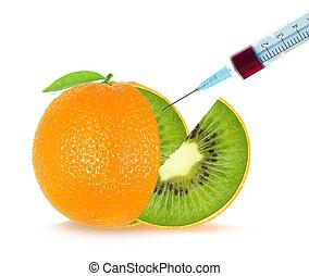 fruit, genetic engineering - kiwi orange. Genetic ...