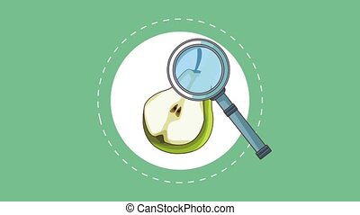 Fruit healthy food HD animation - Magnifying glass checking...