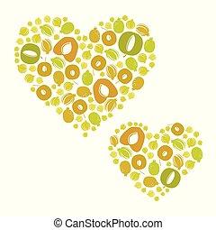Fruit hearts illustration