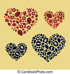 Fruit hearts set