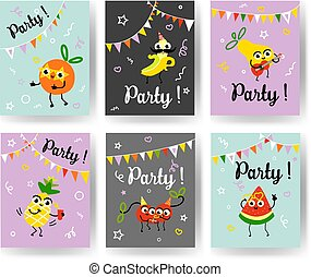 Fruit holiday party banners set with different ripe fruits and berries dancing, drinking cocktails and having fun.