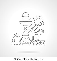 Fruit hookah detailed line vector illustration - Abstract...