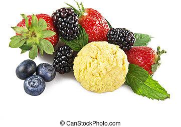 fruit ice cream close up on white background