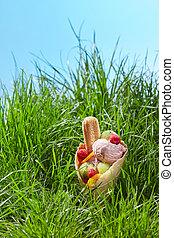 Fruit ice cream in waffle cone