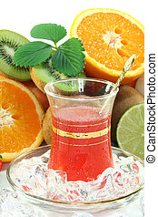 Fruit iced tea with fresh fruit and ice cubes