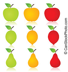 Fruit icon - Icon of fruit an apple, a pear and a lemon. A...