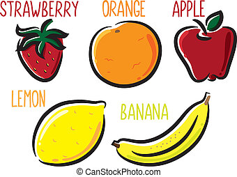 fruit icon in doodle style
