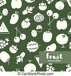 Fruit icon, seamless pattern vector.