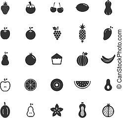 Fruit icons on white background