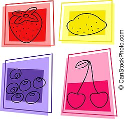 fruit icons - selection of tasty fruit designs