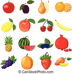 Fruit icons set, cartoon style