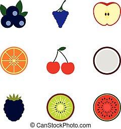 Fruit icons set, flat style