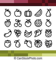 Fruit icons set in outline style