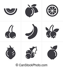 Fruit Icons Set, Vector Design