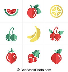 Fruit Icons Set, Vector Design