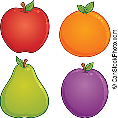Vector cartoon illustration of various fruit. Apple, orange, pear and plum drawings included.
