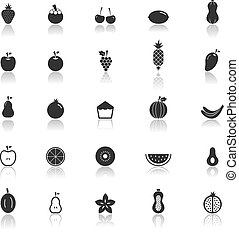 Fruit icons with reflect on white background