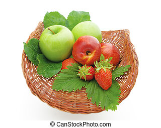 Fruit in a basket on a white background