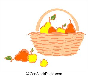 The red and yellow stylized apples and pears lay in a basket and near it.
