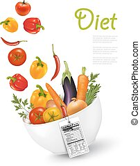 Fruit in a bowl with a nutritional label..Concept of diet. Vector illustration