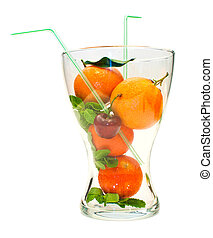 fruit in a glass vase on a white background