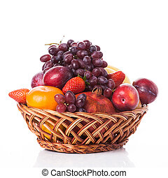 fruit in basket isolated on white background