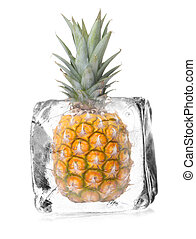 fruit in ice cube - pineapple in a ice cube isolated with...
