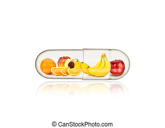fruit in medical capsule with reflection, vitamin concept