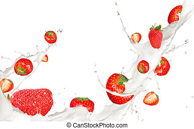 Fruit in milk - Strawberries in cream splash, isolated on...