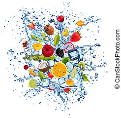Fruit in water splash on white background - Mix of fruit in ...