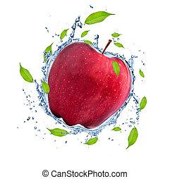 Fruit in water splash - Red apple in water splash, isolated...