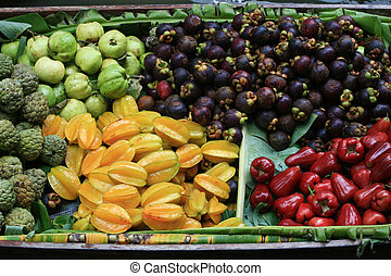Fruit in Wooden Boats