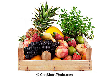 fruit in wooden box.