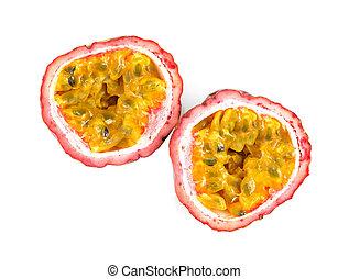 fruit., isolato, passione, fondo, mezzo, bianco
