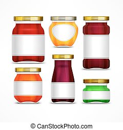 Fruit jam jars with label