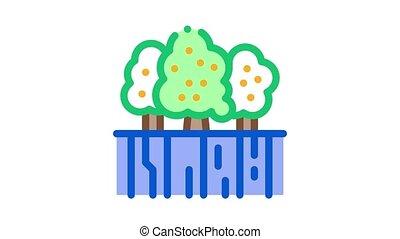 fruit, jardin, animation, icône