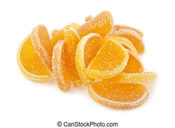 fruit jellies on a white background