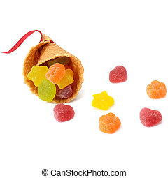 Fruit jelly and waffle cup isolated on white background
