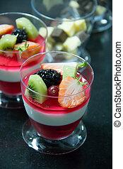 fruit jelly ontop wild strawberries, blackberries kiwi slice...