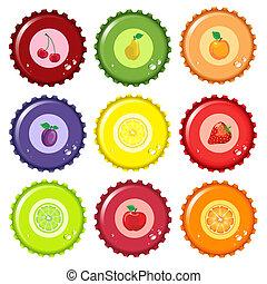 Fruit juice bottle caps