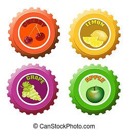 Fruit juice bottle caps - Set of fruit juice bottle caps...