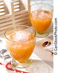 Fruit juice cold drinks material - A glass of freshly...